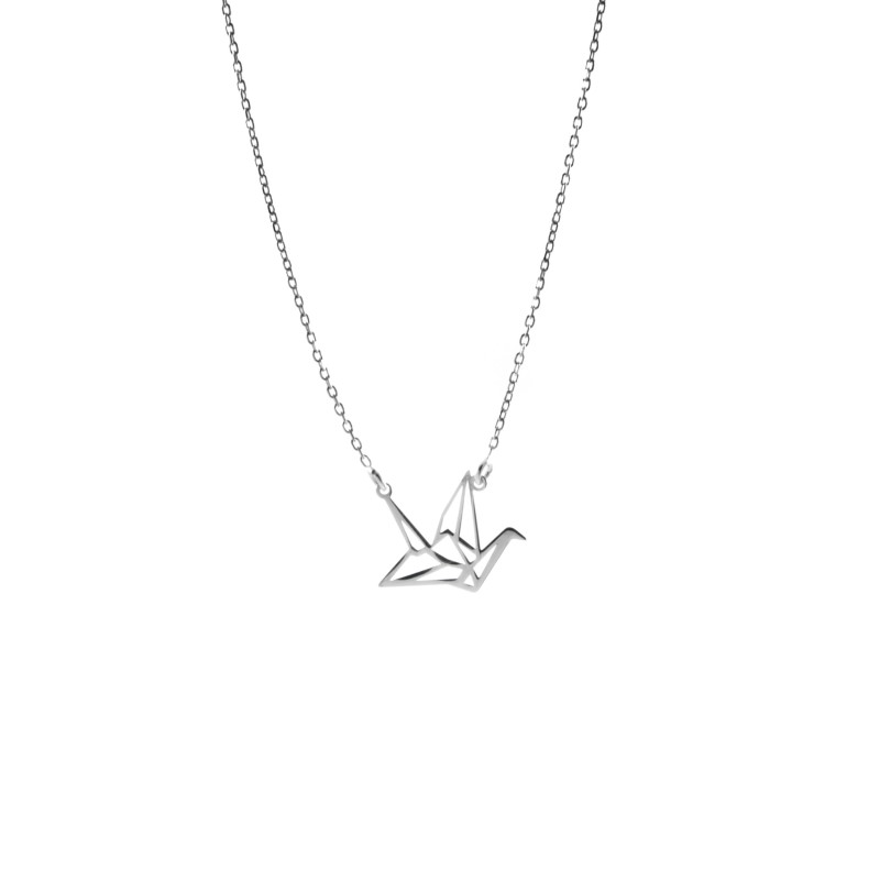 Srebrny Naszyjnik Celebrytka Żuraw Origami