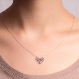 Srebrny Naszyjnik Celebrytka Ażurowe Serce