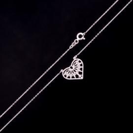 Srebrny Naszyjnik Ażurowe Serce