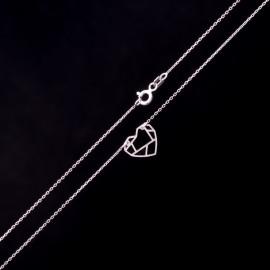Srebrny Naszyjnik Celebrytka Serce Origami