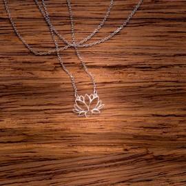 Srebrny Naszyjnik Celebrytka Kwiat Lotosu