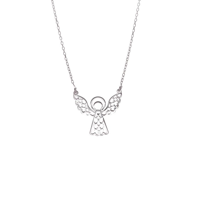 Srebrny Naszyjnik Celebrytka Ażurowy Aniołek