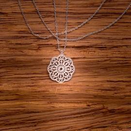 Srebrny Naszyjnik Celebrytka Ażurowy Kwiat