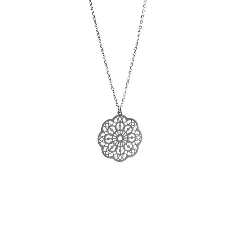 Srebrny Naszyjnik Ażurowy Kwiat