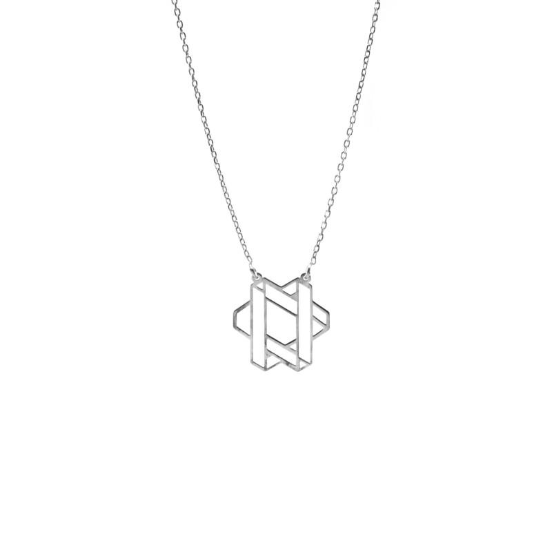 Srebrny Naszyjnik Celebrytka Geometryczny Wzór