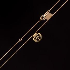Złoty Naszyjnik Celebrytka Ażurowe Koło Grawer