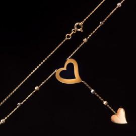 Złoty Naszyjnik Krawatka Serce