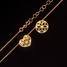 Złoty Naszyjnik Celebrytka Ażurowe Kółko i Serce