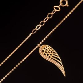 Złoty Naszyjnik Skrzydło Anioła Cyrkonia