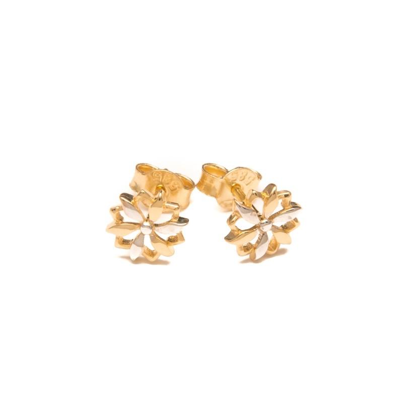 Złote Kolczyki Sztyfty Kwiatki