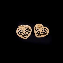 Złote Kolczyki Sztyfty Ażurowe Serce