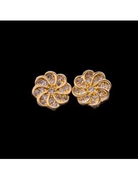 Złote Kolczyki Sztyfty Piękny Kwiat z Cyrkoniami