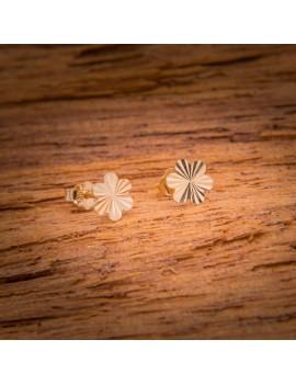 Złote Kolczyki Sztyfty Delikatne Kwiatki
