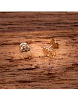Złote Kolczyki Sztyfty Ażurowy Wzór