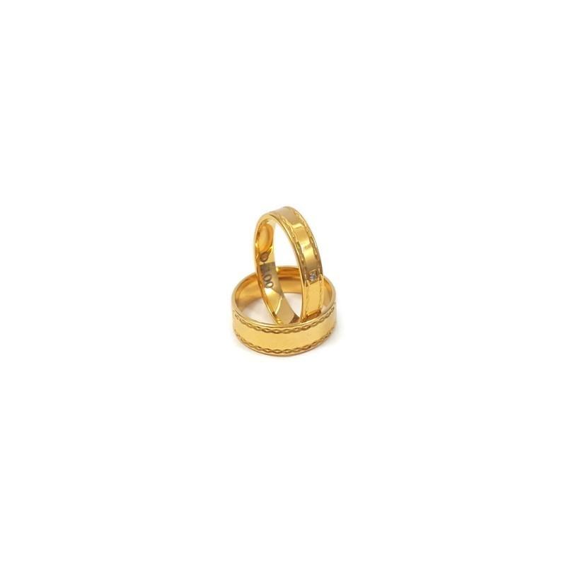 Złote Obrączki Ślubne 585 model FA02 DUŻY WYBÓR
