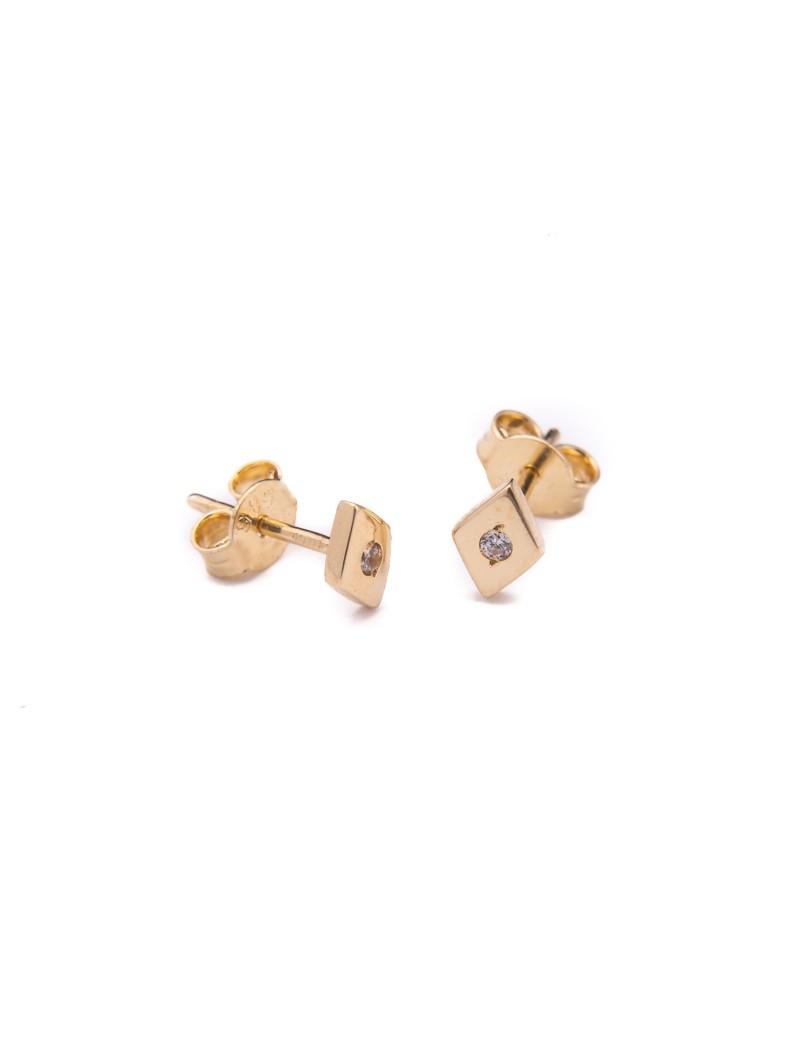 Złote Kolczyki Sztyfty Romb z Cyrkonią