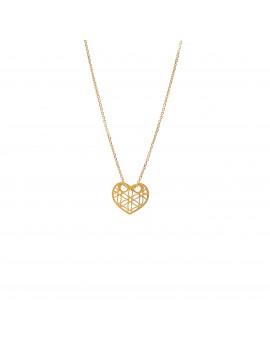 Złoty Naszyjnik Ażurowe Serce