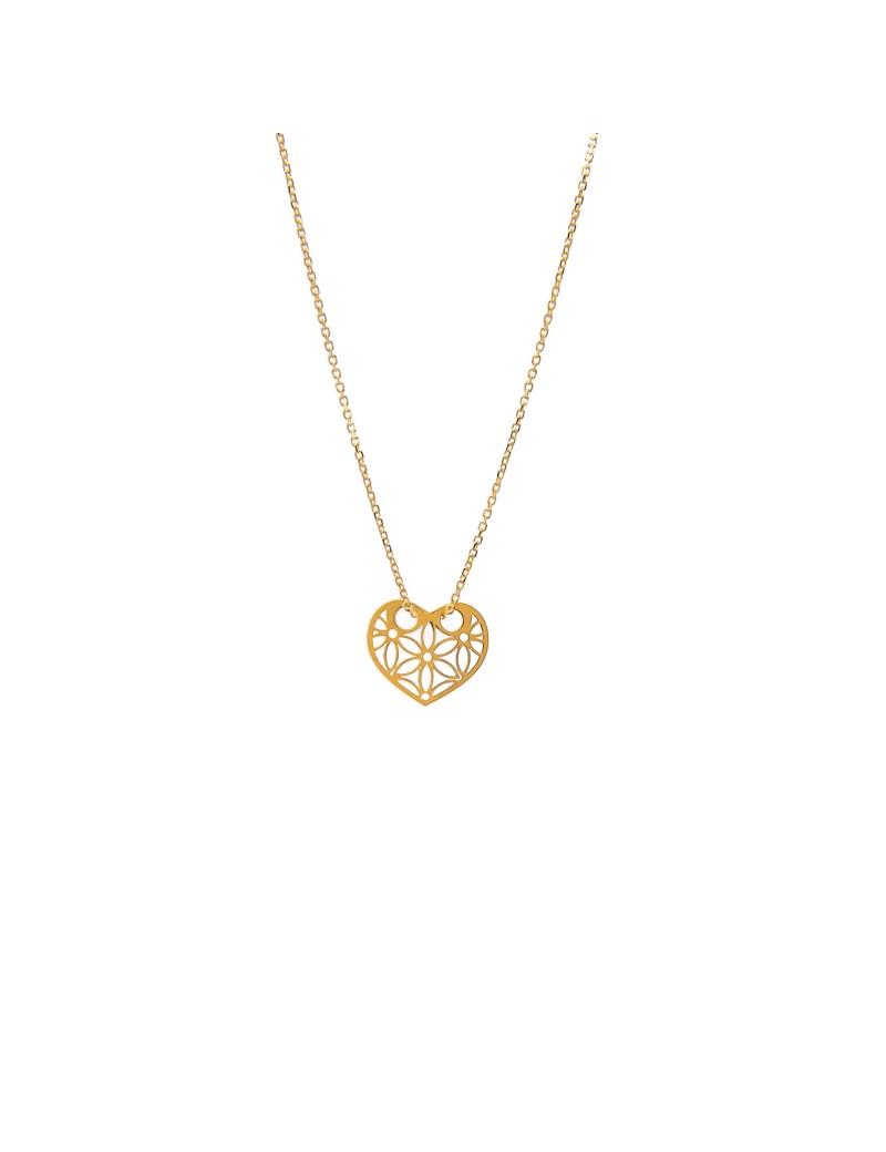 Złoty Naszyjnik Celebrytka Ażurowe Serce