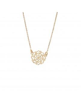Złoty Naszyjnik Celebrytka Kwiat Ażur