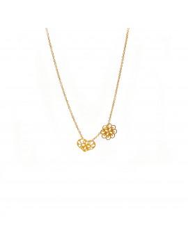 Złoty Naszyjnik Kwiat I Serce