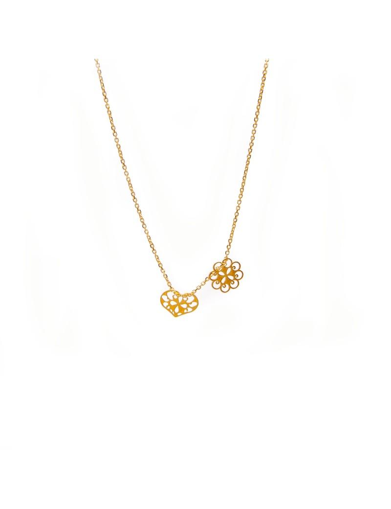 Złoty Naszyjnik Celebrytka Kwiat i Serce Grawer