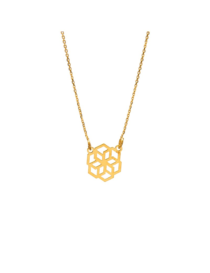 Złoty Naszyjnik Celebrytka Geometryczny Wzór