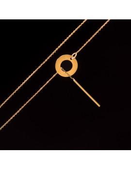 Złoty Naszyjnik Krawatka Koło