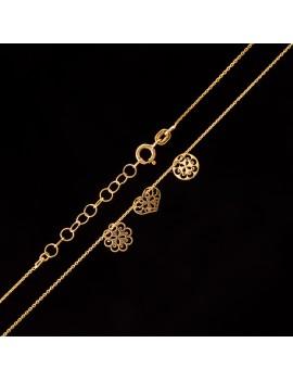 Złoty Naszyjnik Celebrytka Serce Kwiat Koło Grawer