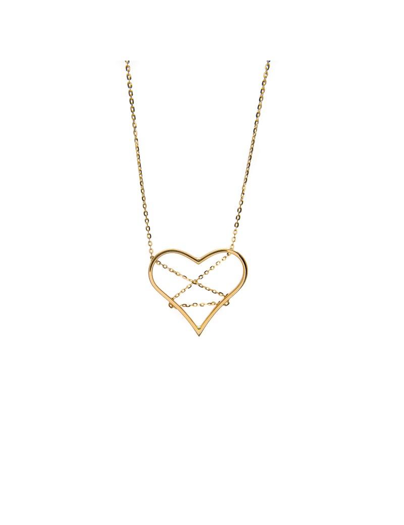 Złoty Naszyjnik Celebrytka Duże Serce