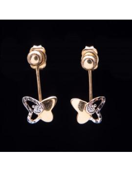 Złote Kolczyki Sztyfty Wiszący Motylek