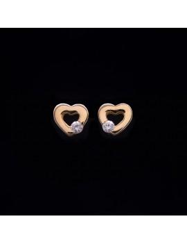Złote Kolczyki Sztyfty Serce z Cyrkonią