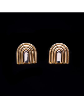 Złote Kolczyki Sztyfty z Białym Złotem