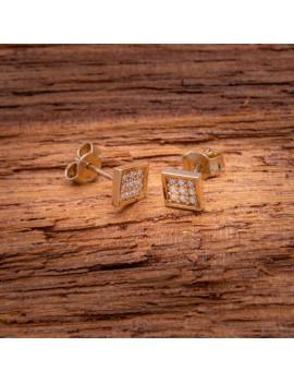 Złote Kolczyki Sztyfty Kwadrat Cyrkonie