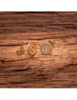 Złote Okrągłe Sztyfty z Cyrkoniami