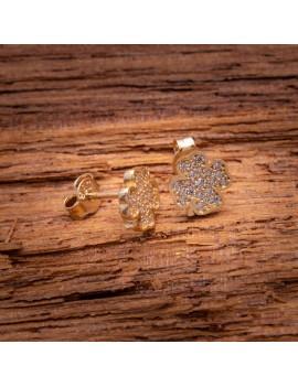 Złote Kolczyki Sztyfty Koniczyna Cyrkonie