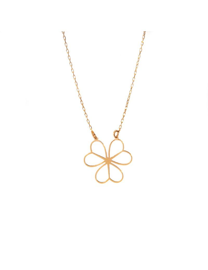Złoty Naszyjnik Celebrytka Kwiat Z Serc Grawer