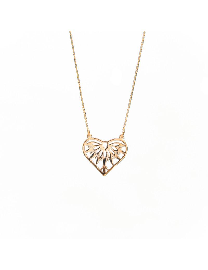 Złoty Naszyjnik Celebrytka Ażurowe Serce Grawer
