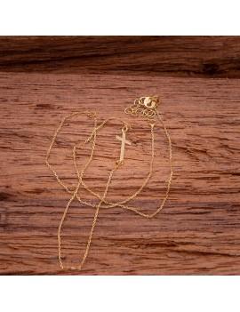 Złoty Naszyjnik Celebrytka Leżący Krzyżyk Grawer