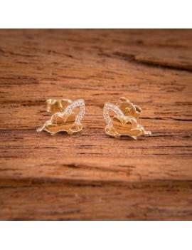 Złote Kolczyki Sztyfty Motyl Cyrkonie