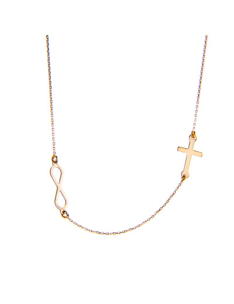 Złoty Naszyjnik Celebrytka Krzyżyk Nieskończoność Grawer