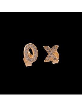 Złote Kolczyki Sztyfty XOXO Cyrkonie