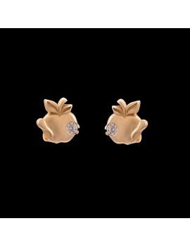 Złote Kolczyki Sztyfty Jabłko Cyrkonie