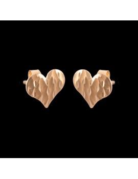 Złote Kolczyki Sztyfty Modne Serce